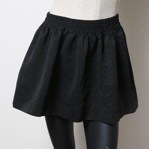Black Textured Skater Bubble Skirt